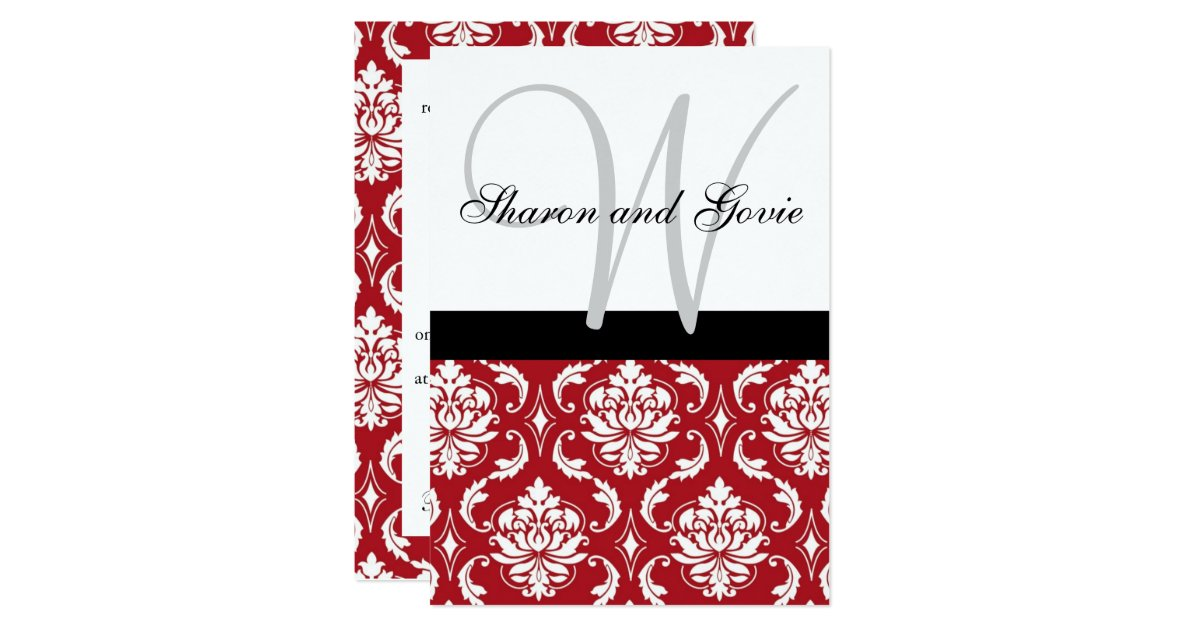 Red And Black Wedding Invitation Kits: Red Black White Damask Monogram Wedding Invitation