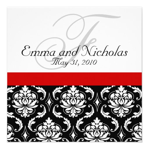 """Wedding Invitations Red White And Black: Red Black White Damask Wedding Invitation 5.25"""" Square"""