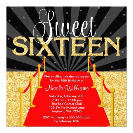 Red Carpet Gold Glam Hollywood Sweet 16 Birthday 5 25x5 25