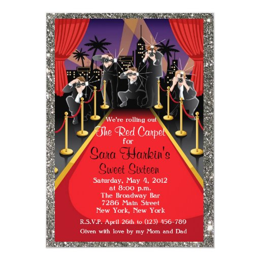 Red Carpet Hollywood Glitter Sweet 16 Invite Zazzle