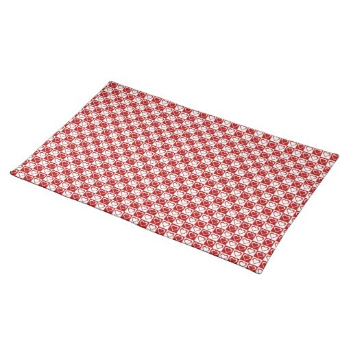 Checkered Mat: Red Checkered Pattern With Hearts Place Mat