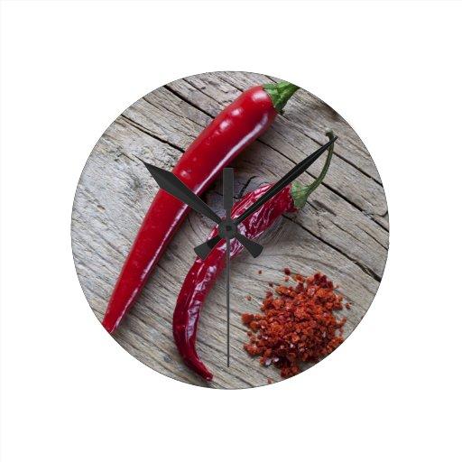 Red Chili Pepper Round Clock Zazzle