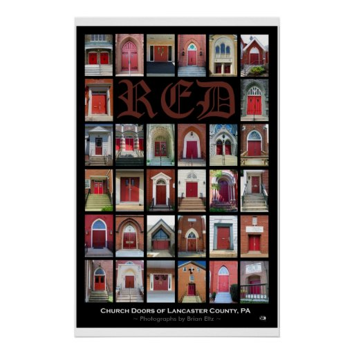 Quot Red Church Doors Of Lancaster County Pa Quot Poster Zazzle