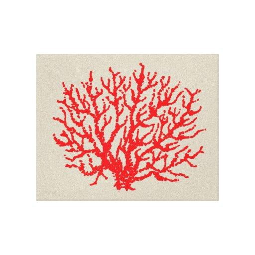 Bathroom Wall Art Canvas Artwork Nautical Coral Reef Ocean: Red Coral Beach Sea Wall Art Decoration