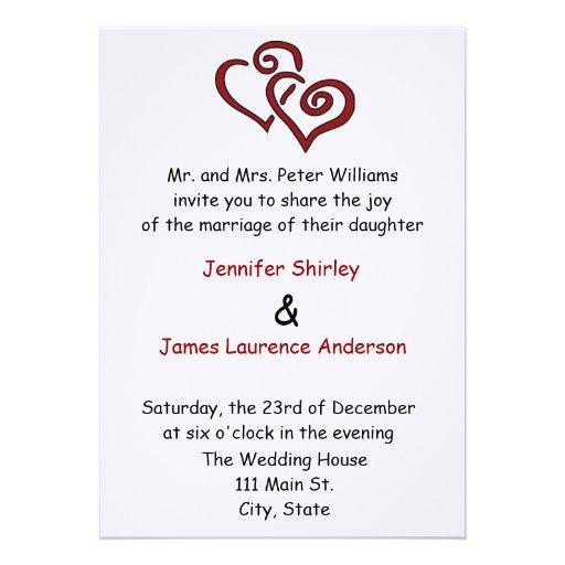 "Red Double Heart Wedding Invitation 5"" X 7"" Invitation"
