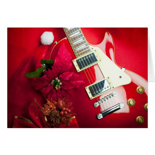 Red Electric Guitar With Christmas Ornaments Card | Zazzle