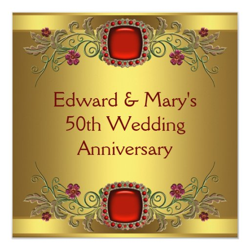 Flowers For Golden Wedding Anniversary: Red Flowers Gold 50th Wedding Anniversary Party Card