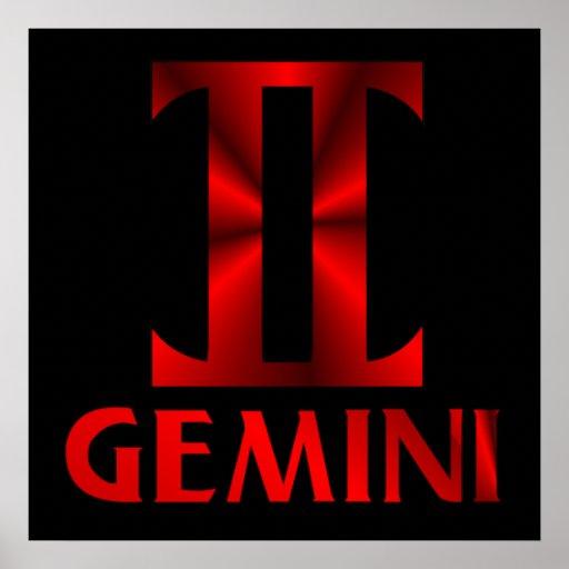 Red Gemini Horoscope Symbol Poster | Zazzle