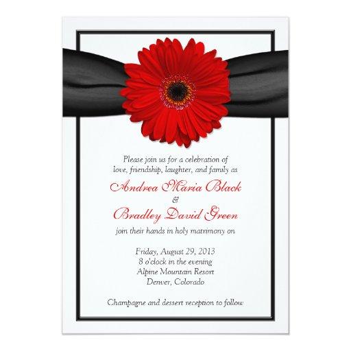 Gerbera Wedding Invitations: Red Gerbera Daisy Black Ribbon Wedding Invitation