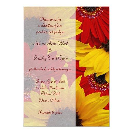 Gerbera Wedding Invitations: Red Gerbera Daisy Sunflower Wedding Invitation