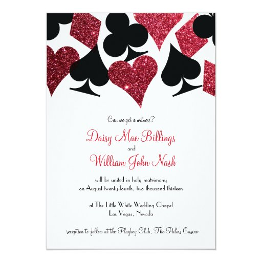 Casino Wedding Invitations: Red Glitter Destiny Las Vegas Wedding Invitation