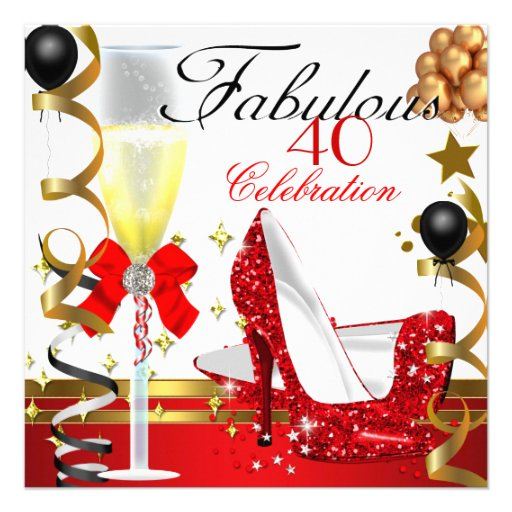 "Red Gold 40 & Fabulous 40th Birthday Party 5.25"" Square ... - photo#3"