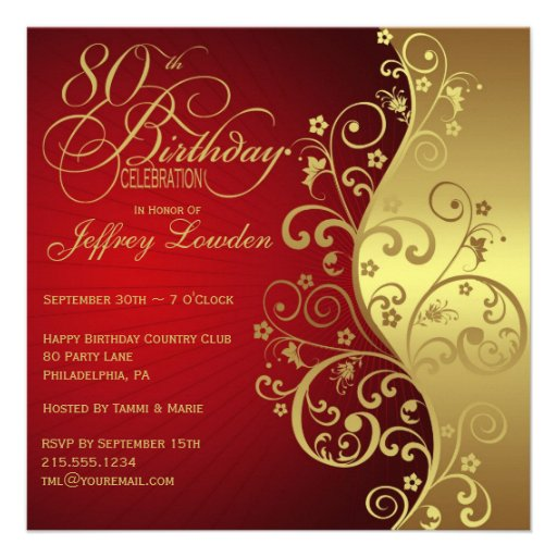 Red Gold 80th Birthday Party Invitation