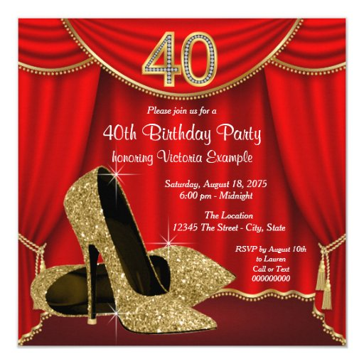 Red Gold High Heel 40th Birthday Party Card Zazzle