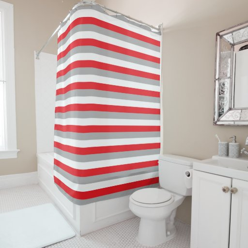 red grey and white stripes shower curtain zazzle. Black Bedroom Furniture Sets. Home Design Ideas