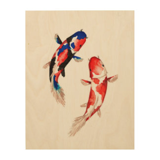 Koi Fish Wood Wall Art Zazzle