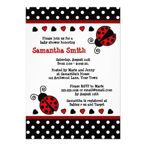 Red Ladybug Baby Shower Black And White Polka Dots Custom