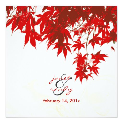 Fall Themed Wedding Invitations: Red Maple Leaves/fall Wedding/diy Background Color