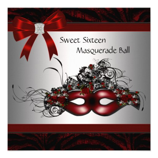Personalized Red Masquerade Party Invitations