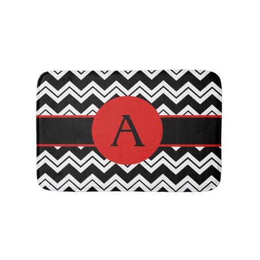 Black And White Chevron Bathroom Rug: Red Monogram Black White Chevron ZizZag Rug Bath Mats