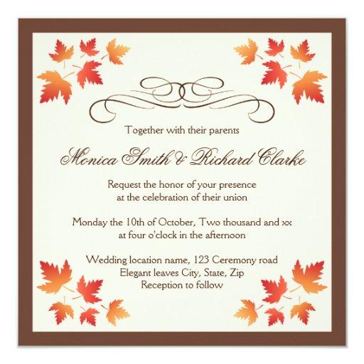Elegant Fall Color Wedding Inviation: Red Orange Autumn Leaves Elegant Fall Wedding Invitation