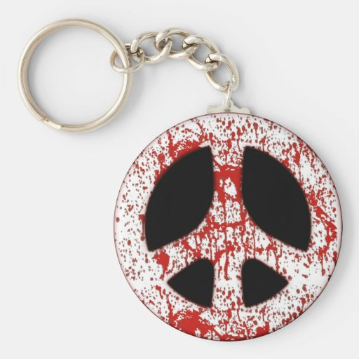 RED PAINT SPLATTER PEACE SIGN KEYCHAIN | Zazzle