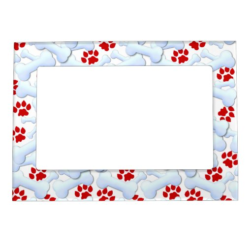Red Paws And Dog Bones Magnetic Picture Frame Zazzle