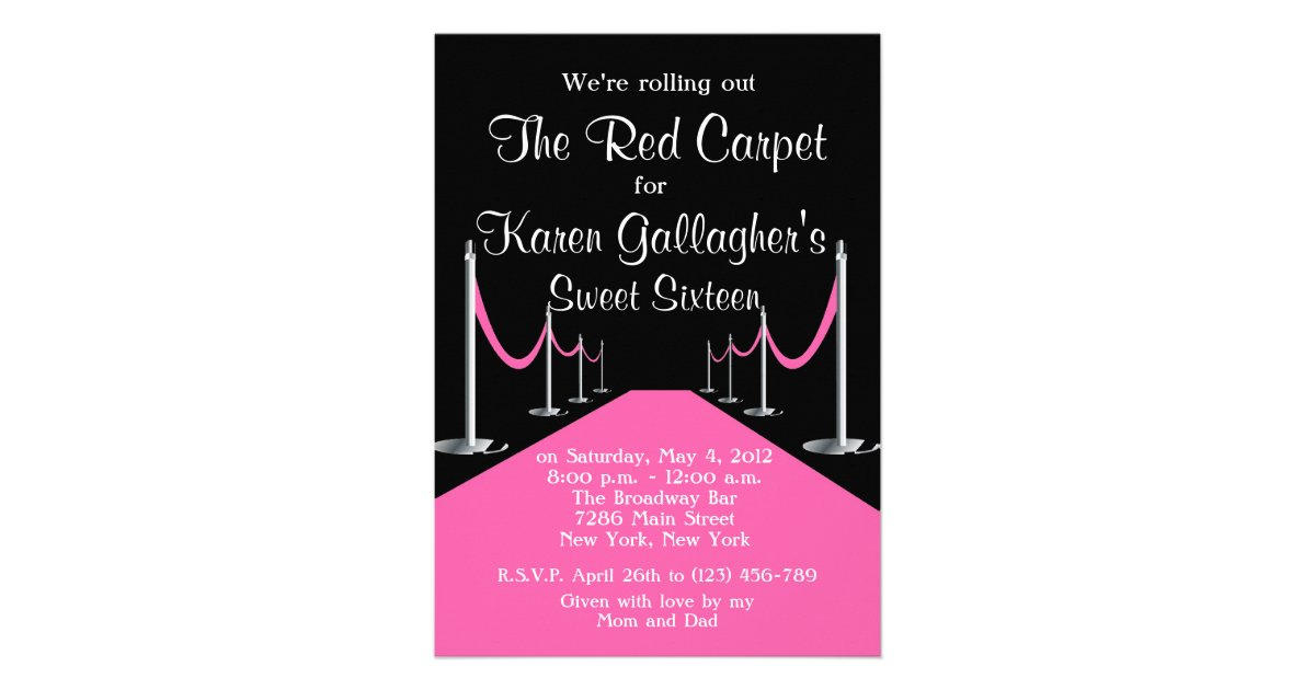 Red Pink Carpet Hollywood Sweet 16 Invite