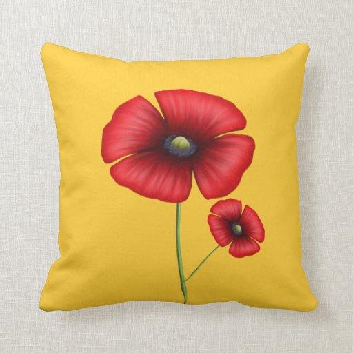 Red Poppy Throw Pillow Zazzle