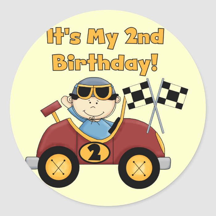 Red Race Car 2nd Birthday Tshirts And Gifts Sticker