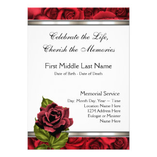 Red Rose Mourning Card Funeral Announcement