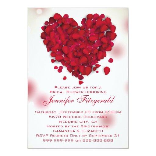 Red Rose Petals Love Heart Bridal Shower 5x7 Paper