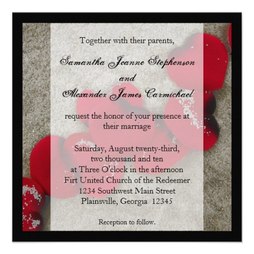 Red Rose Petals On Sand Beach Wedding 5.25x5.25 Square