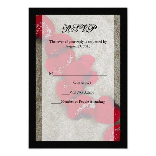 Red Rose Petals On Sand Beach Wedding RSVP 3.5x5 Paper