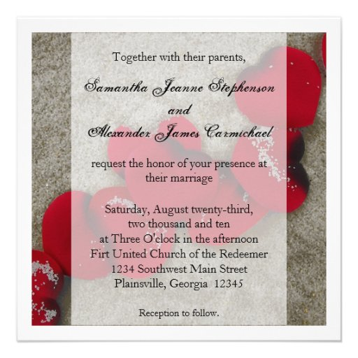 Red Rose Petals, Sand Beach Wedding 5.25x5.25 Square Paper