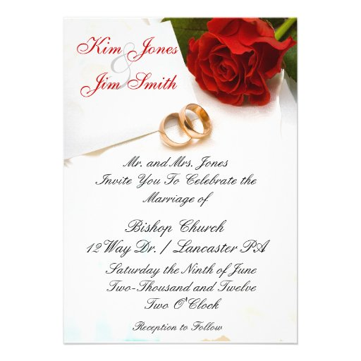 """Wedding Invitations With Red Roses: Red Rose Wedding Invitations 5"""" X 7"""" Invitation Card"""