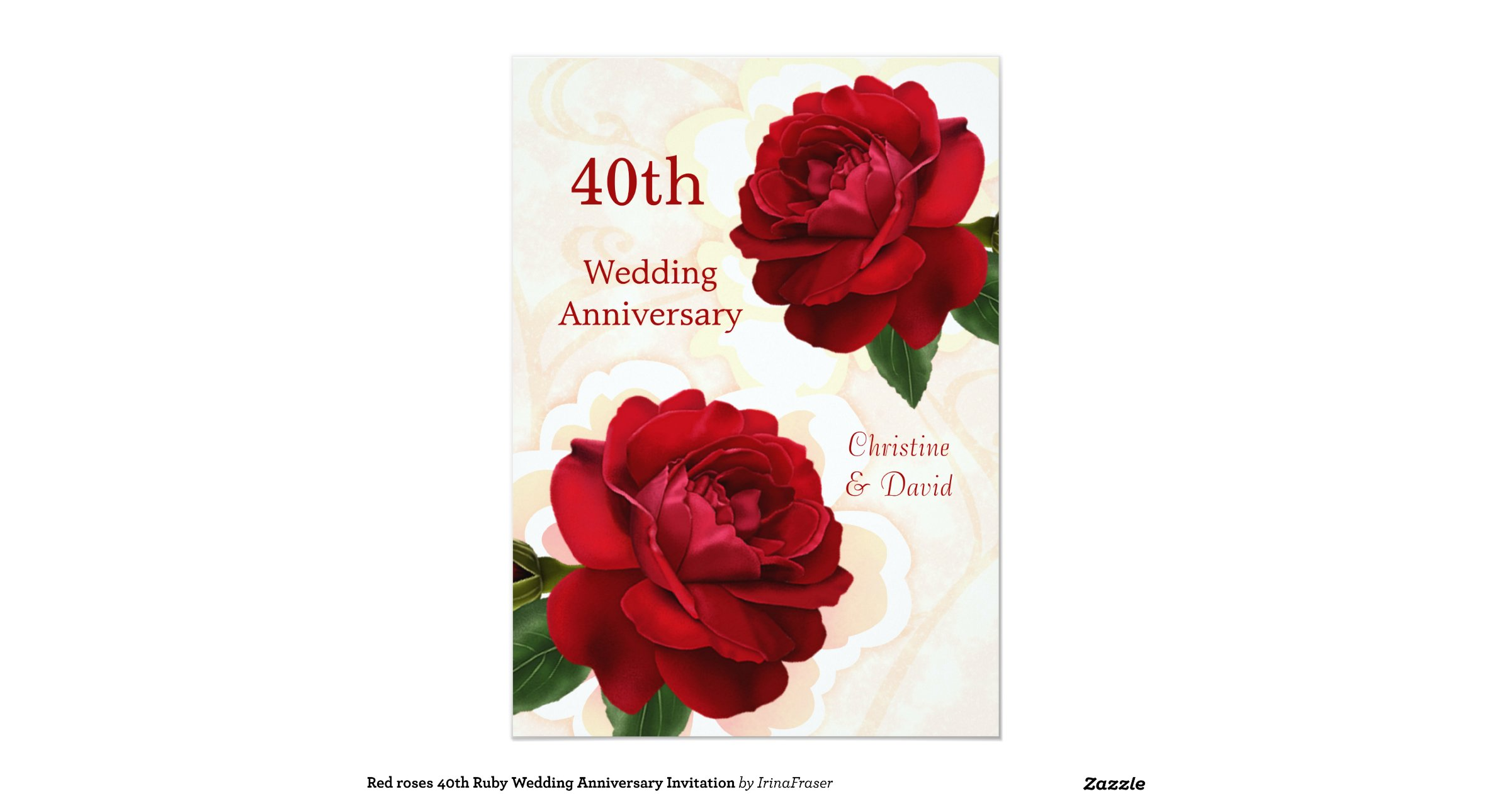 Ruby 40th Wedding Anniversary Gifts: Red_roses_40th_ruby_wedding_anniversary_invitation