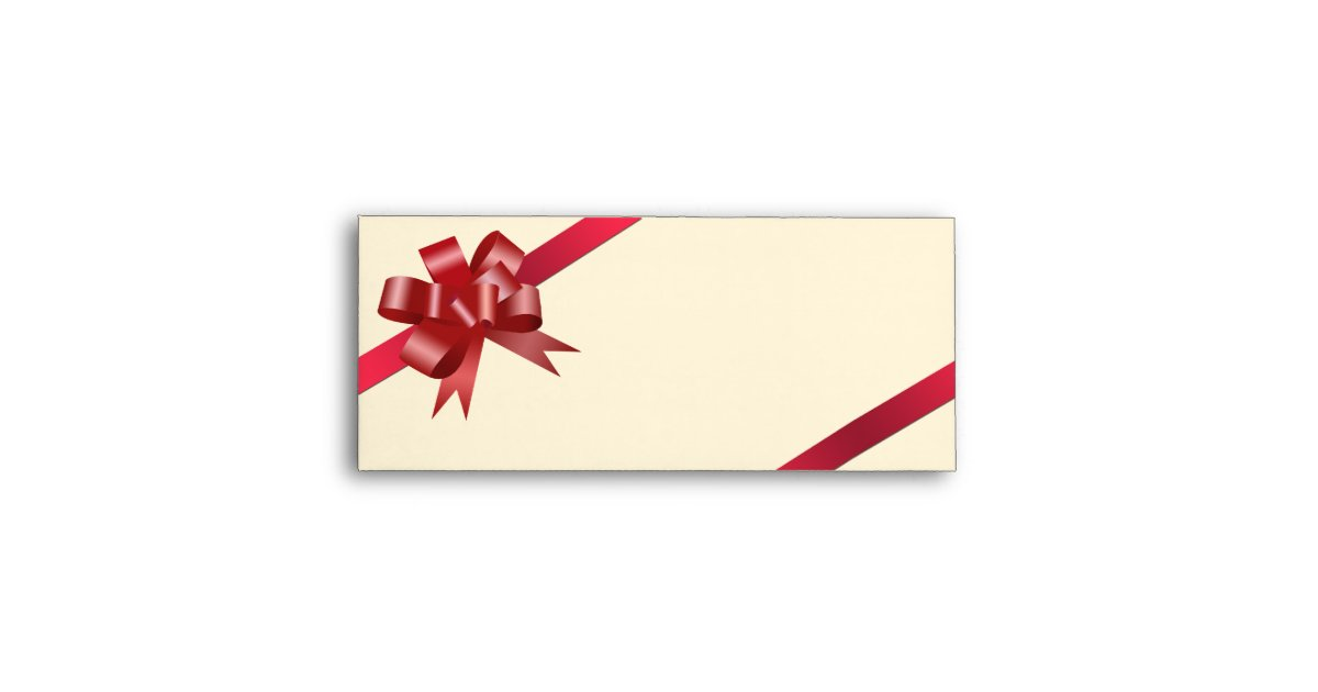 Red satin bow ribbon holiday gift business logo envelope ...