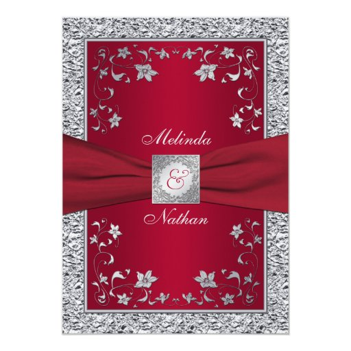 Printable Wedding Invitations Designs With Red And Silver