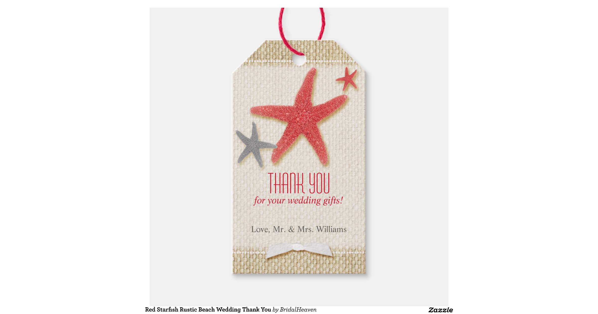Wedding Thank You Gift: Red Starfish Burlap Beach Wedding Thank You Tags Pack Of