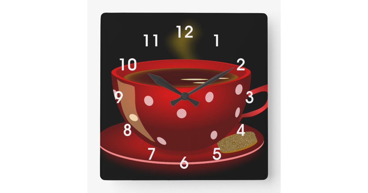 Red Tea Or Coffee Cup Kitchen Wall Clock Zazzle