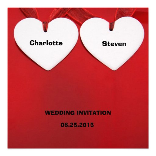 Red-Themed Whimsical Hearts Wedding-Related Event 5.25x5