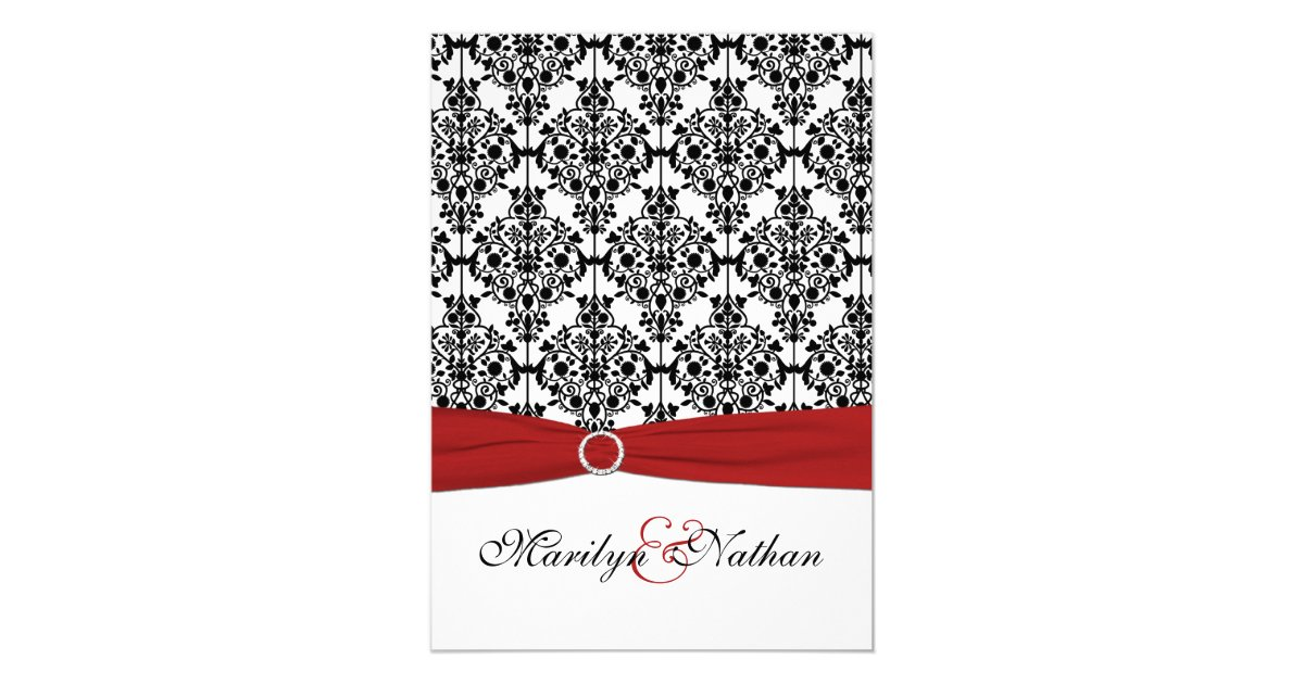 Wedding Invitations Red And Black: Red, White And Black Damask II Wedding Invitation