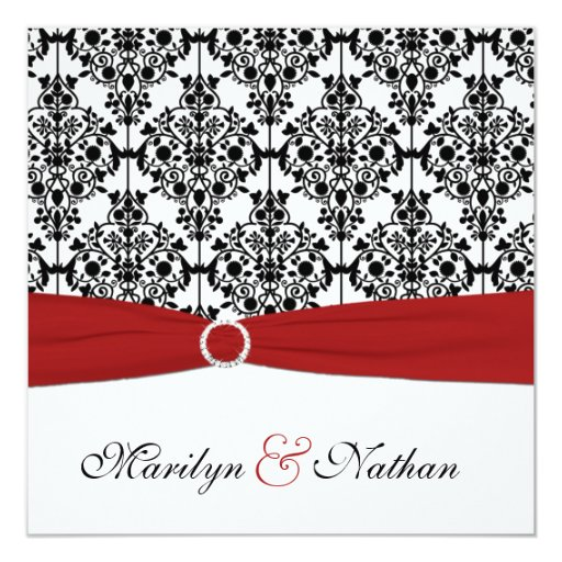Wedding Invitations Red White And Black: Red, White, And Black Damask Wedding Invitation
