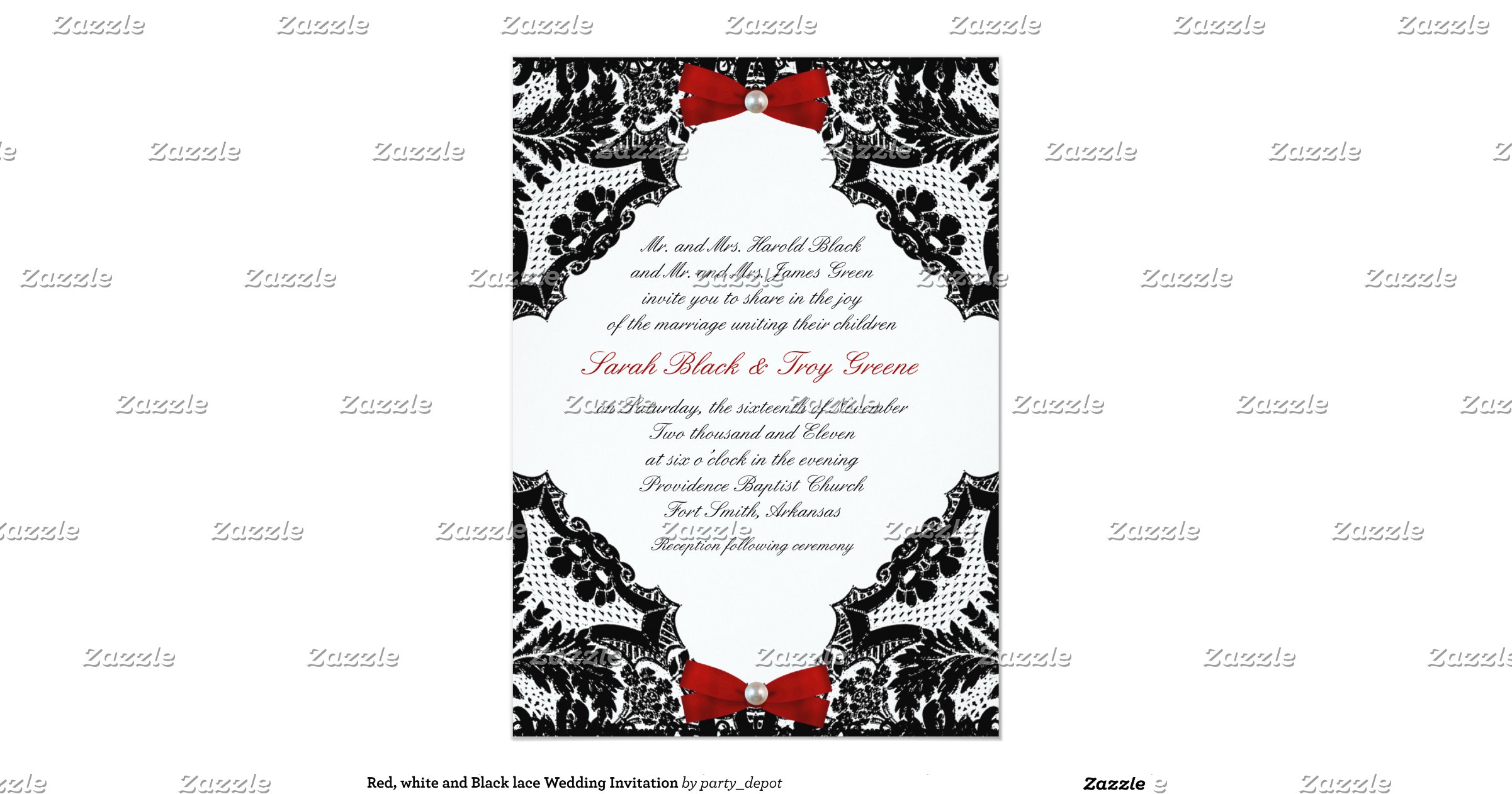 White And Red Wedding Invitations: Red_white_and_black_lace_wedding_invitation