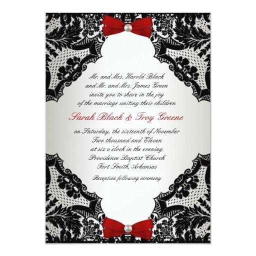 Black White Wedding Invitations: Red, White And Black Lace Wedding Invitation