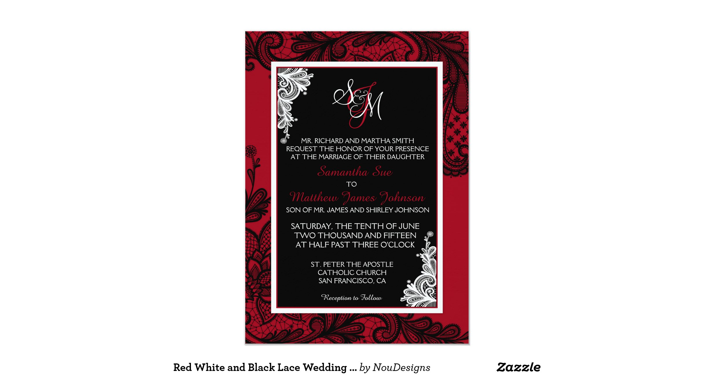 White And Red Wedding Invitations: Red_white_and_black_lace_wedding_invitation_card
