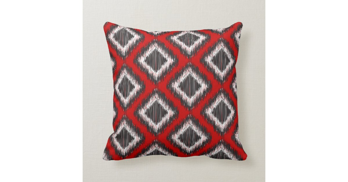 Red, White And Black Tribal Ikat Throw Pillow
