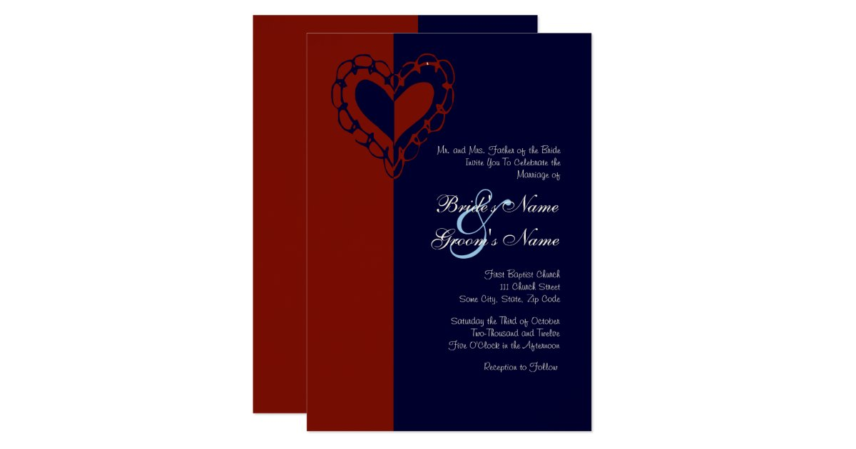 Red White And Blue Wedding Invitations: Red, White, And Blue Heart Wedding Invitation