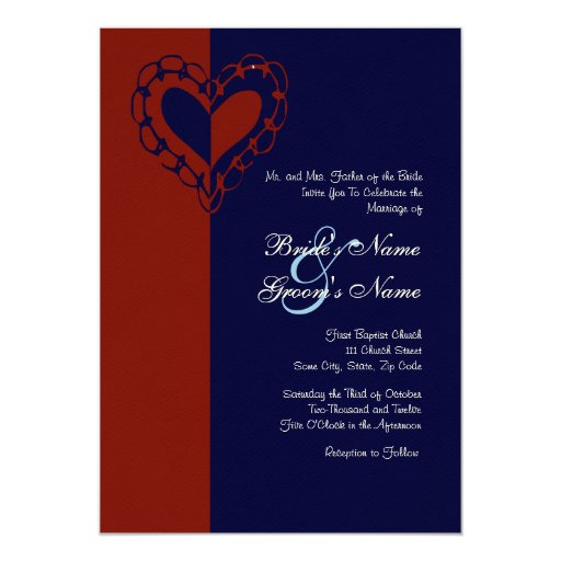 Red, White, and Blue Heart Wedding Invitation | ZazzleRed And White Wedding Invitations